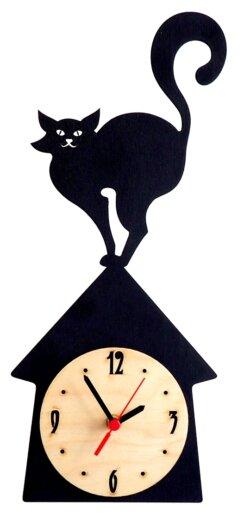 Часы настенные кварцевые Roomton Кот на крыше