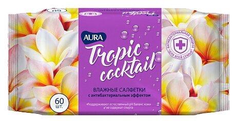 Салфетки влажные Aura Tropic cocktail, c антибактериальным эффектом, 60шт.