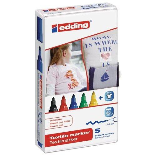 Edding Маркеры 2 - 3 мм, 5 шт. (4500) разноцветные edding фломастеры 15 funtastics 1 мм 12 шт разноцветные