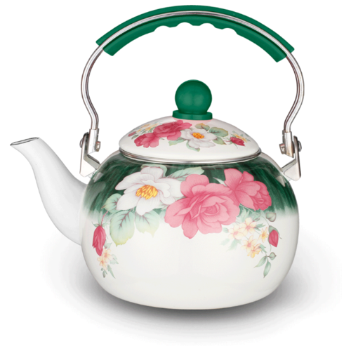 Kelli Чайник эмалированный с поворотной ручкой 2,5 л, белый/зеленый/розовый