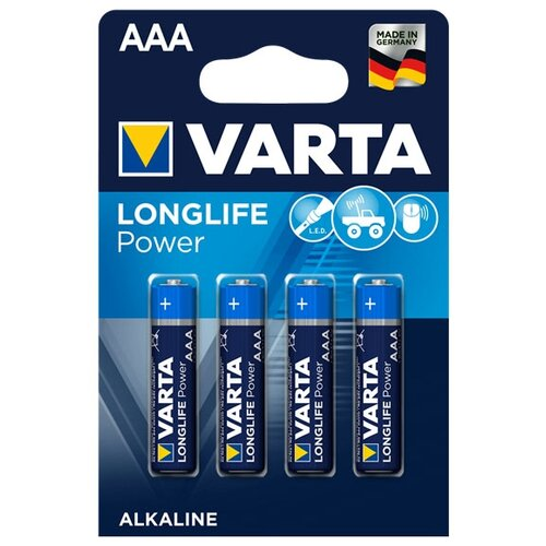 Фото - Батарейка VARTA LONGLIFE Power AAA 4 шт блистер батарейка varta longlife c блистер 2шт
