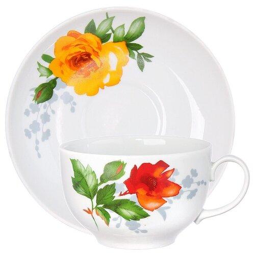 Дулёвский фарфор Чашка чайная с блюдцем Янтарь Роза 210 мл