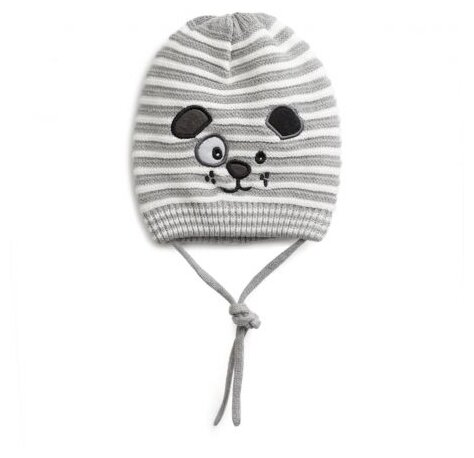 Шапка playToday размер 42, серый/белый