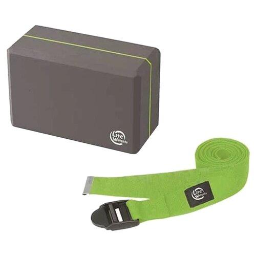 Набор для йоги Lite Weights 5490LW серый/салатовый блок для йоги lite weights light blue 5494lw