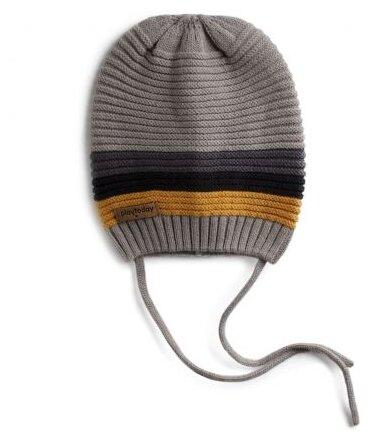 Шапка playToday размер 40, серый/желтый