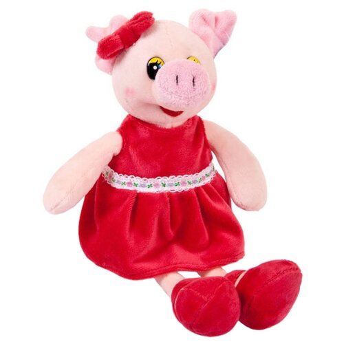 Мягкая игрушка ABtoys Свинка в красном платье 16 см