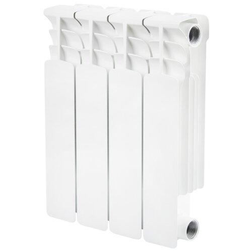 Радиатор секционный биметаллический STOUT Space 350 x4 теплоотдача 520 Вт, 4 секций, подключение универсальное боковое RAL 9016 секционный радиатор stout space 500 биметаллический srb 0310 050009 белый 9 секций