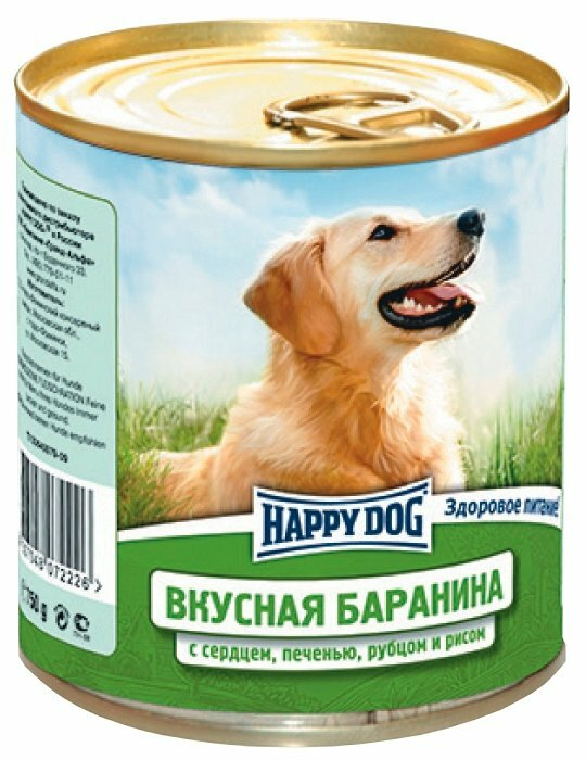Корм для собак Happy Dog NaturLine баранина, печень, сердце, рубец с рисом 12шт. х 750г