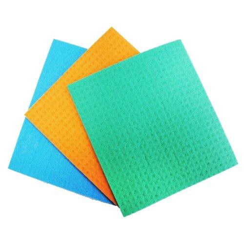 Салфетка из целлюлозы 3 шт. голубой/оранжевый/зеленыйТряпки, щетки, губки<br>