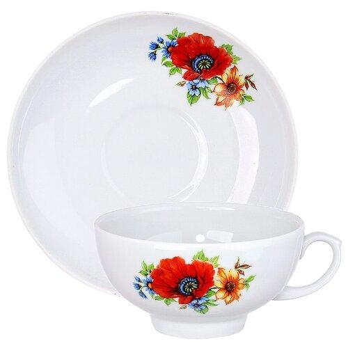 Дулёвский фарфор Чашка чайная с блюдцем Рубин Полевой мак 220 млКружки, блюдца и пары<br>