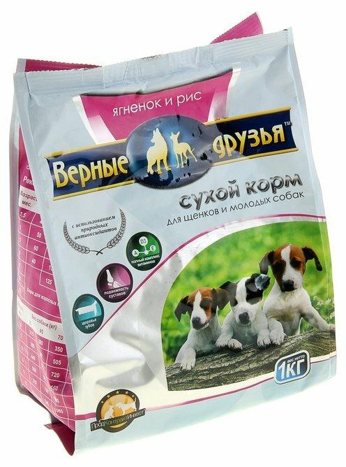 Корм для собак Верные друзья Сухой для щенков - Ягненок и рис (1 кг)