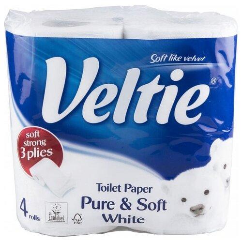 Туалетная бумага Veltie Pure & Soft White трехслойная, 4 рул.Туалетная бумага и полотенца<br>