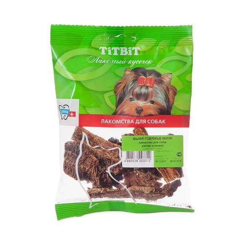 Лакомство для собак Titbit Вымя говяжье мини, 60 г titbit лакомство вяленое для собак кусочки легкого бараньего уп 60 г