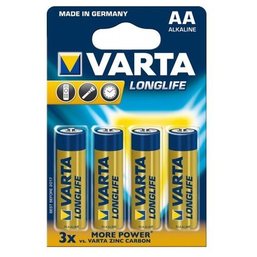 Фото - Батарейка VARTA LONGLIFE AA 4 шт блистер батарейка varta longlife power 3lr12 1 шт блистер