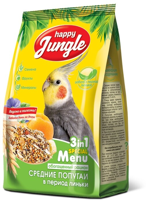 Happy Jungle Корм для средних попугаев в период линьки Обогащенный рацион 500 г