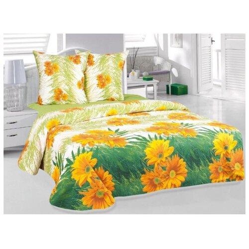 цена на Постельное белье 1.5-спальное ТЕТ-А-ТЕТ Герберы, бязь зеленый/желтый