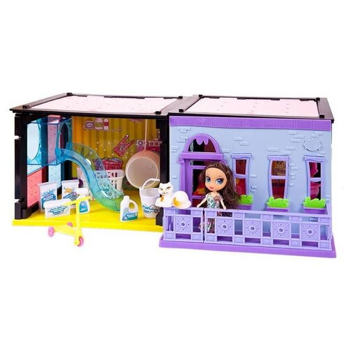 Купить ABtoys Модный дом PT-00853, розовый/желтый/голубой/фиолетовый, Кукольные домики