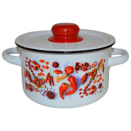 Кастрюля Appetite Паприка 1.5 л, белый/красный кастрюля appetite apple 3 л черный красный