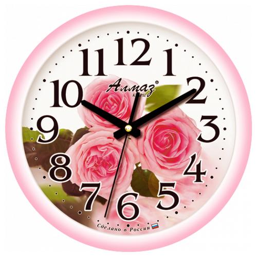 Часы настенные кварцевые Алмаз E30 розовый/белый часы настенные кварцевые алмаз p12 золотистый белый