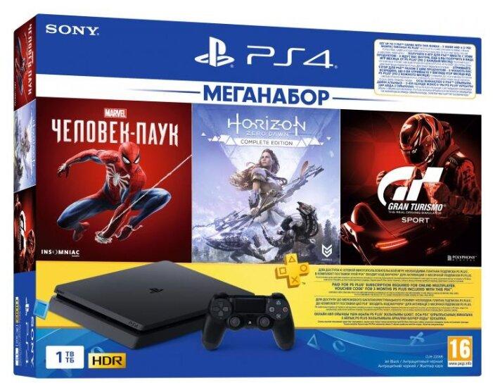 Купить Игровая приставка Sony PlayStation 4 Slim 1 ТБ черный + Gran Turismo Sport + Horizon Zero Dawn + Marvel Человек Паук + PS Plus 3 месяца по низкой цене с доставкой из Яндекс.Маркета