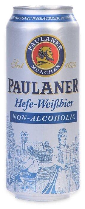 Пиво безалкогольное светлое Paulaner Hefe-Weisbier нефильтрованное пастеризованное 0.5л банка