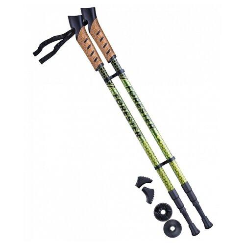 Палки для скандинавской ходьбы со сменными комплектующими BERGER Forester 3-секционная 67-135 см болотный/желтый