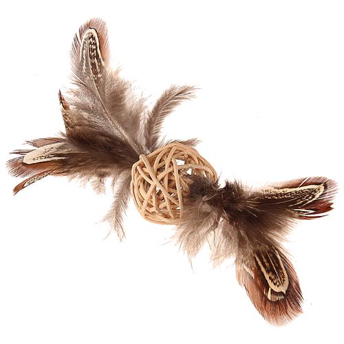 Мячик для кошек GiGwi Catch & Scratch ECO с колокольчиком и пером (75438) коричневый/бежевый дразнилка для кошек gigwi feather teaser с ручкой 75429 коричневый черный