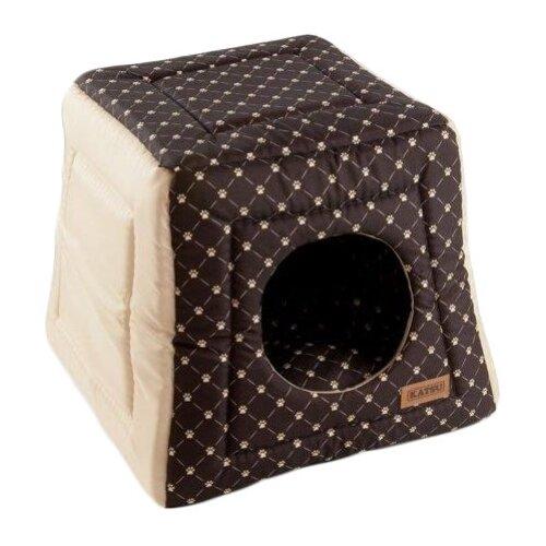 Домик для собак и кошек Katsu Hopi Cat Paw 40х40х35 см коричневый/бежевый