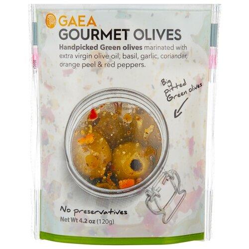 Gaea Оливки Гурмэ в маринаде без косточки, пластиковый пакет 120 г