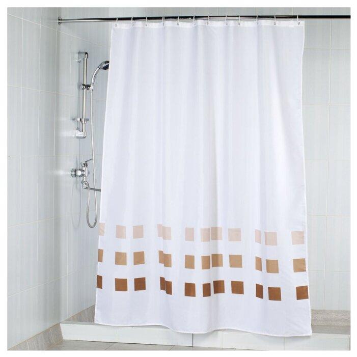 Штора для ванной Aquarius Квадраты 180х200 коричневый/белый