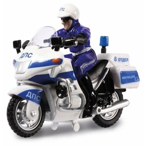 цена на Мотоцикл ТЕХНОПАРК ДПС с фигуркой (CT-1247) 1:43 белый/синий