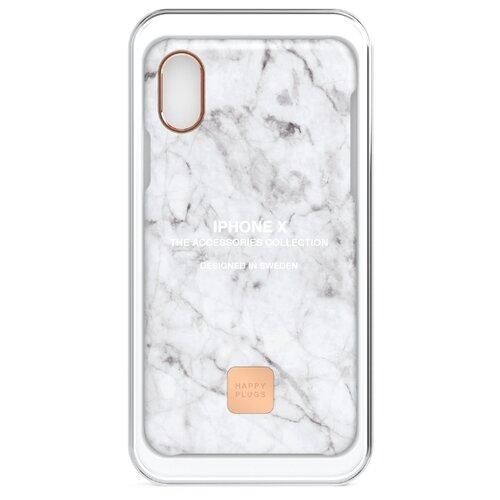 Чехол-накладка Happy Plugs 9160 + защитная пленка для Apple iPhone X/Xs white marble чехол накладка happy plugs 9337 для apple iphone xs max botanica exotica