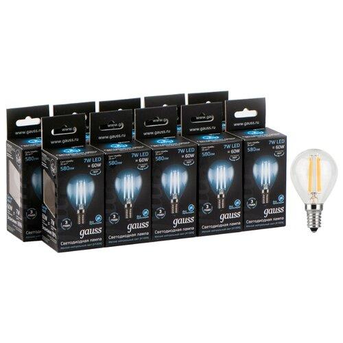 Упаковка светодиодных ламп 10 шт gauss 105801207, E14, 7Вт упаковка светодиодных ламп 10 шт gauss 103101107 s e14 c38 7вт