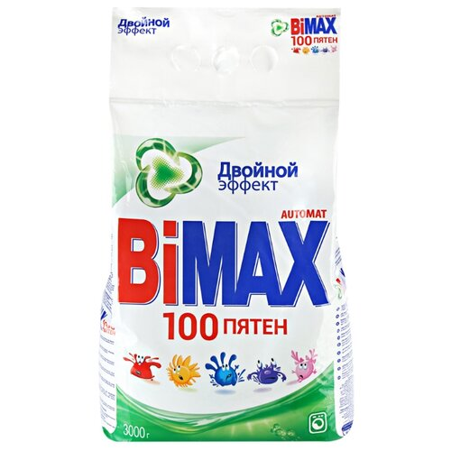 Стиральный порошок Bimax 100 пятен (автомат) 3 кг пластиковый пакетСтиральный порошок<br>