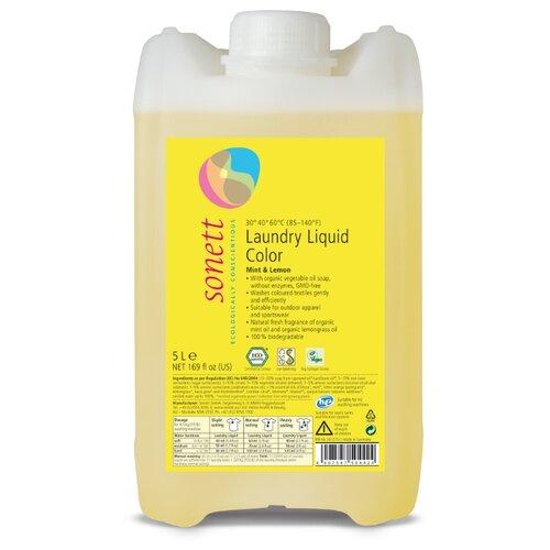 Жидкость для стирки Sonett для цветных тканей Мята и лимон 5 л бутылкаГели и жидкости для стирки<br>
