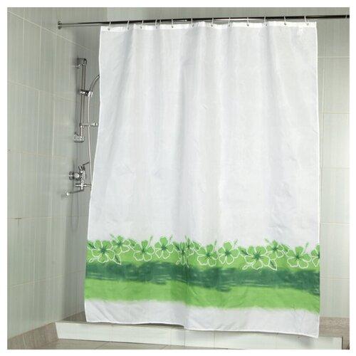 Штора для ванной Aquarius Цветы на воде 180х200 белый/зеленый