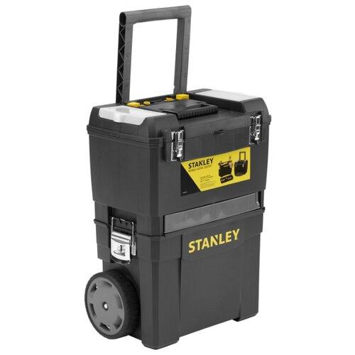 Ящик-тележка STANLEY Mobile Work Center 2 in 1 1-93-968 47.3x30.2x62.7 см черный ящик тележка stanley 1 92 904 pro mobile tool chest 59x37x42 см черный желтый