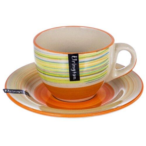 Elrington Чашка с блюдцем Красная радуга 220 мл белый/оранжевыйКружки, блюдца и пары<br>