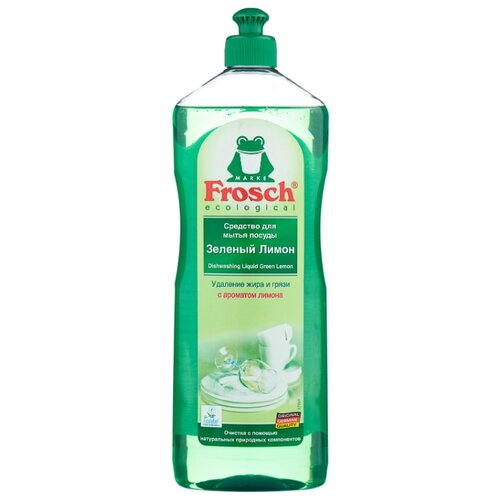 Фото - Frosch Средство для мытья посуды Зелёный лимон, 1 л frosch средство для мытья посуды зелёный лимон 0 5 л
