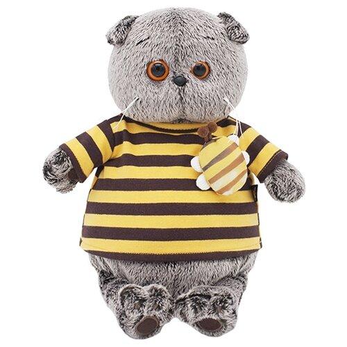 Купить Мягкая игрушка Basik&Co Кот Басик в полосатой футболке с пчелой 30 см, Мягкие игрушки