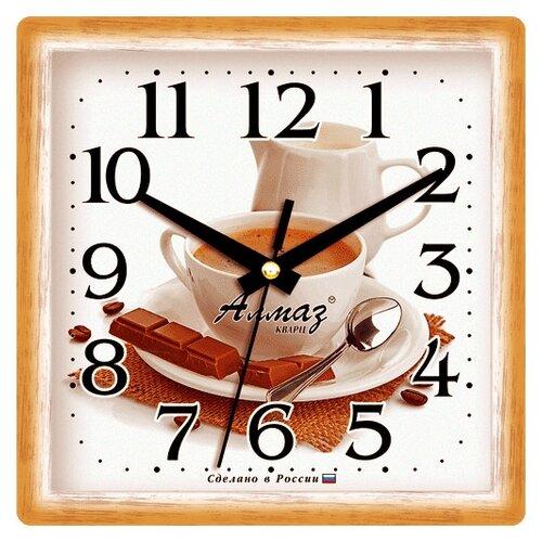 Часы настенные кварцевые Алмаз M04/M13/M21/M22/M23 светло-коричневый / белыйЧасы настенные<br>