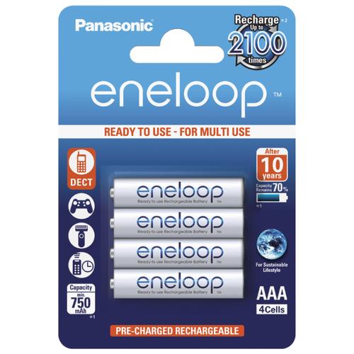 Аккумулятор Ni-Mh 750 мА·ч Panasonic eneloop AAA 4 шт блистерБатарейки и аккумуляторы<br>