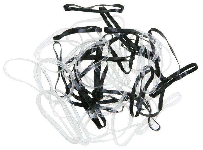 Резинки для волос DEWAL, силиконовые, черн./белые, midi 50 шт/уп RES032 Dewal RES032