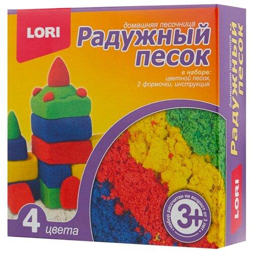 Кинетический песок LORI Радужный песок, 4 цвета (Пт-004), 0.6 кг