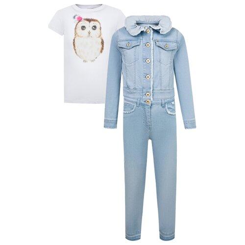 Купить Комплект одежды Il Gufo размер 140, синий выцветший/ белый-розовый, Комплекты и форма