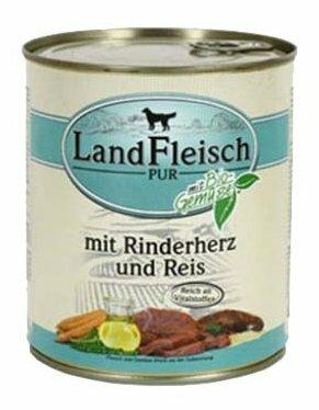 Корм для собак Dr. Alder`s ЛАНДФЛЯЙШ Деревенское мясо сердце + рис + овощи рубленое мясо Для взрослых собак (0.8 кг) 6 шт.