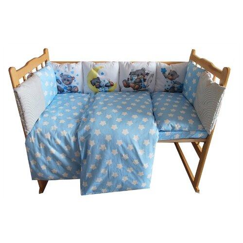 Valena комплект в кроватку Мишки Тедди (4 предмета) голубой бортики и постельный комплект в кроватку valena мишки тедди