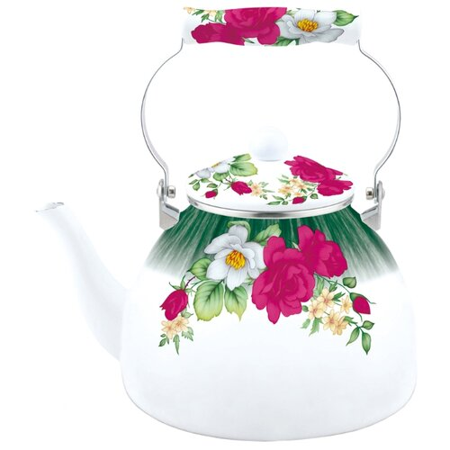 Kelli Чайник эмалированный с поворотной ручкой 4 л, белый/розовый/зеленый