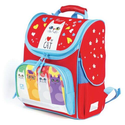 Купить BRAUBERG Ранец Style Коты (227824), красный, Рюкзаки, ранцы