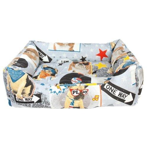 Лежак для собак PRIDE Диско Дог 70х60х23 см серый/голубой/бежевый